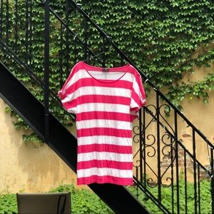 Express Pink and White Stripe T Shirt